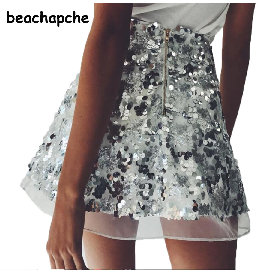 Women Skirt Sexy High Waist Party Glitter Mini Skirt Bodycon gold silver Sequin Skirt Sexy zipper Short Skirts for Women Ladies 1
