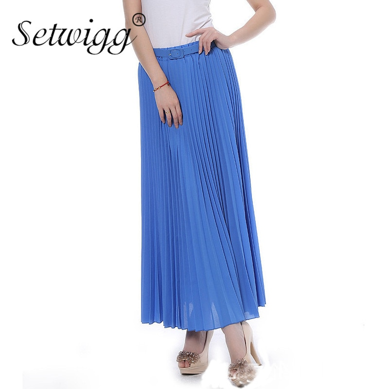 SETWIGG 90cm Long Chiffon Accordion Pleated Skirts Elastic Waist Belt Casual Candy Maxi Long Bohemian Summer Skirts SG03 2