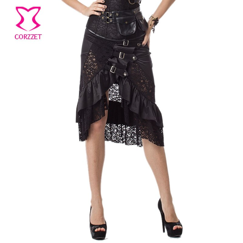 6XL Black Floral Lace & Satin Ruffles Gothic Victorian Skirt Steampunk Skirts Plus Size Women Matching Burlesque Corset Bustier