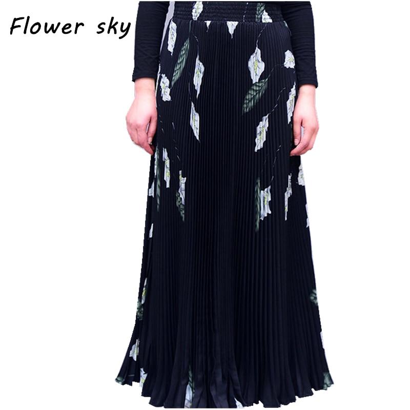 17 Women Maxi Long Skirt Elastic Waist Pleated Skirts Beach Boho Vintage Summer Long Pleated Skirts Faldas Saia 1