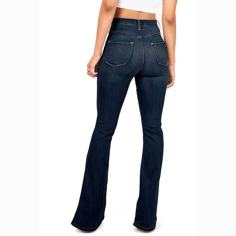 Women's Washed Fashion Jeans Flared Long Pants Hip Lift Sexy Trousers 2