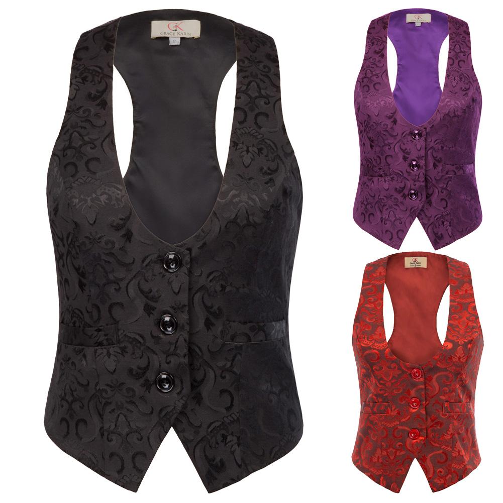 Women Suit Vest Waistcoat Vintage Steampunk Jacket Tuxedo Slim Work Gilet Party 2