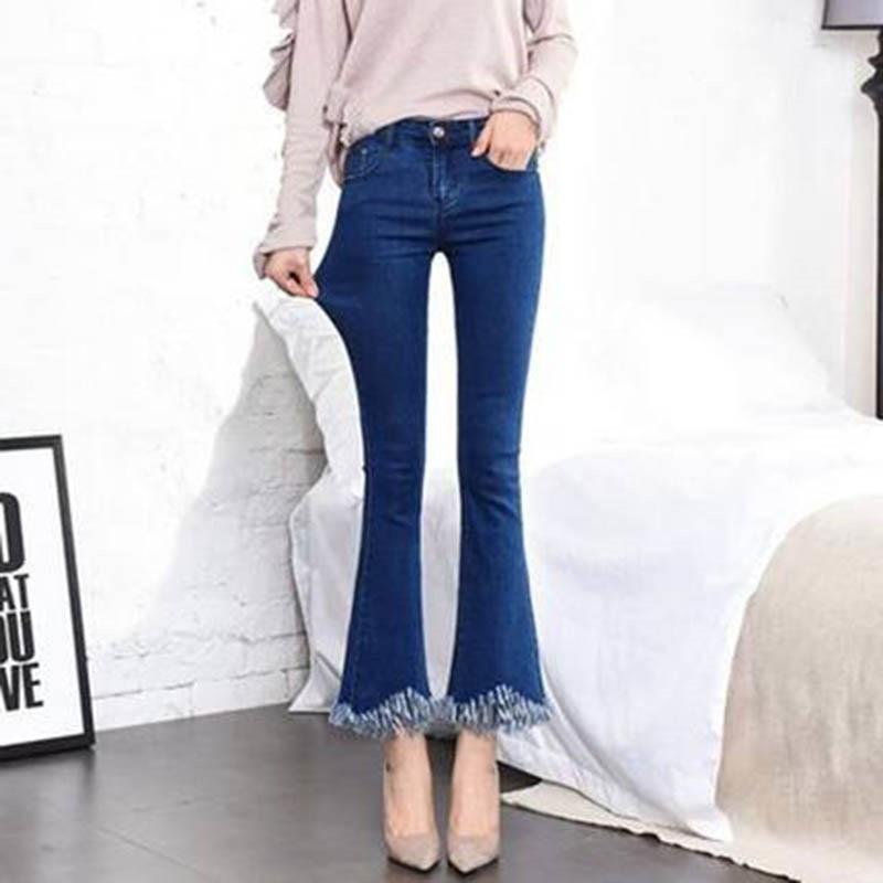 High Waist black flare Tassel Jeans Woman Thin Fringed Edges Ankle trousers Horn high waist skinny bell bottom Denim Pant Female 3