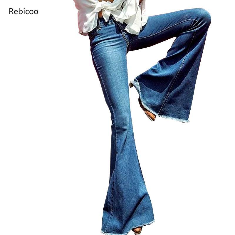 Rebicoo Women Flare Jeans Female Casual Slim Stretch Fashion Ladies Vintage Washed Skinny Long Denim Pants Spring Autumn 1