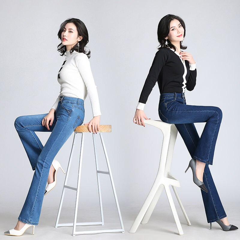 2019 Women Vintage Jeans For Women Flare Jeans Stretch High Waist Button Casual Spring Stretchy Denim Pants