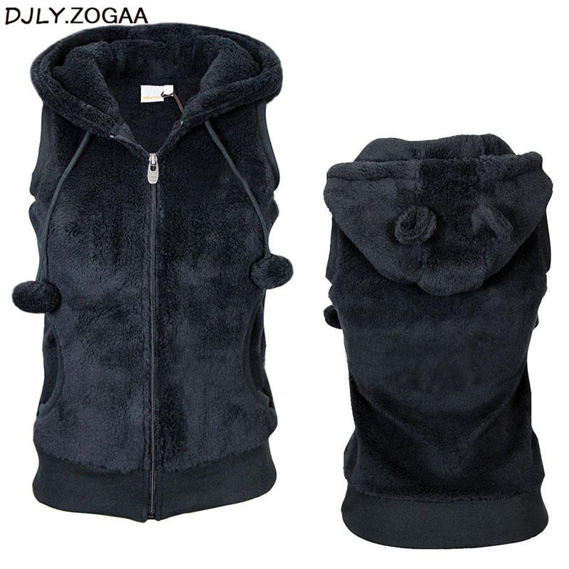 Women Winter Warm Vests Coat Soft Fleece Hooded Outwear Female Fashion Casual Thicken Vest Jacket Solid Women Fur Vest Coat 3