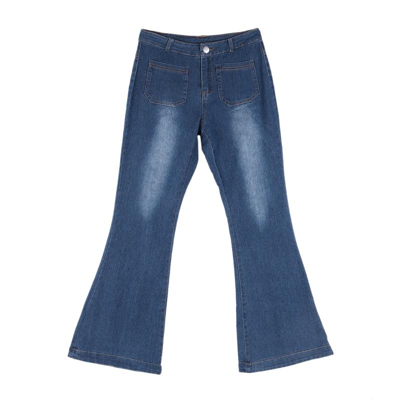 Women Fashion High-Rise Wide Leg Flared Jeans Retro Bell Bottom Jeans Denim Ladies Zipper Pocket Trousers 3