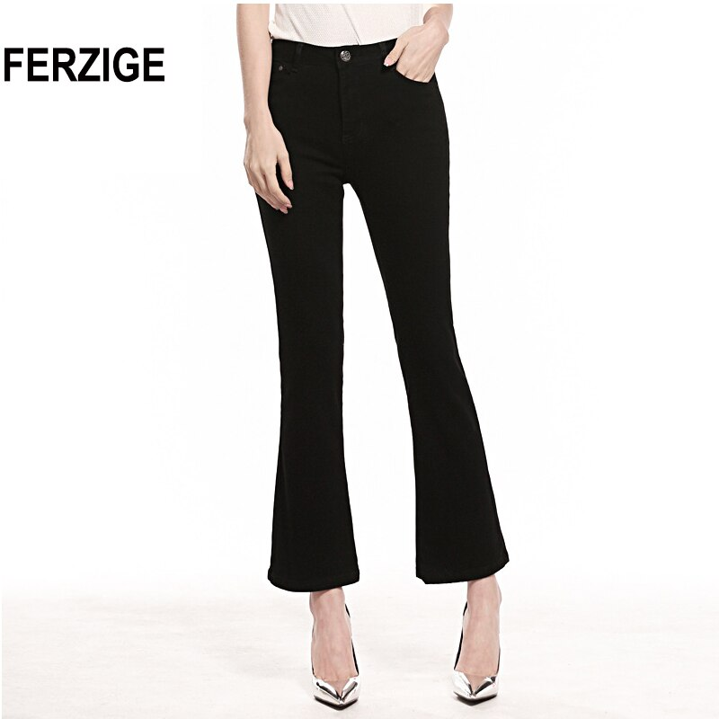 FERZIGE Womens Jeans Solid Black Blue Summer Thin Flare Pants Cropped High Waist Stretch Denim Pants for Yong Girls Fashoin 1