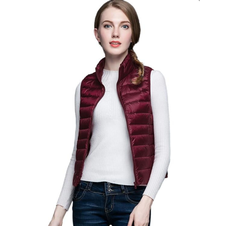 HOT!Winter Women 90% White Duck Down Vest Women's Ultra Light Duck Down Vest Jacket Autumn Winter Sleeveless Coat 1