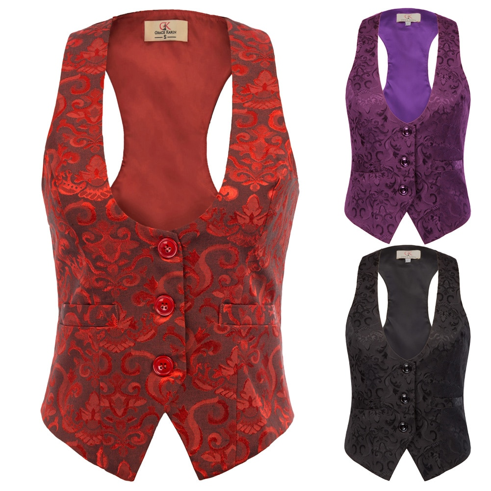 Women Suit Vest Waistcoat Vintage Steampunk Jacket Tuxedo Slim Work Gilet Party 3