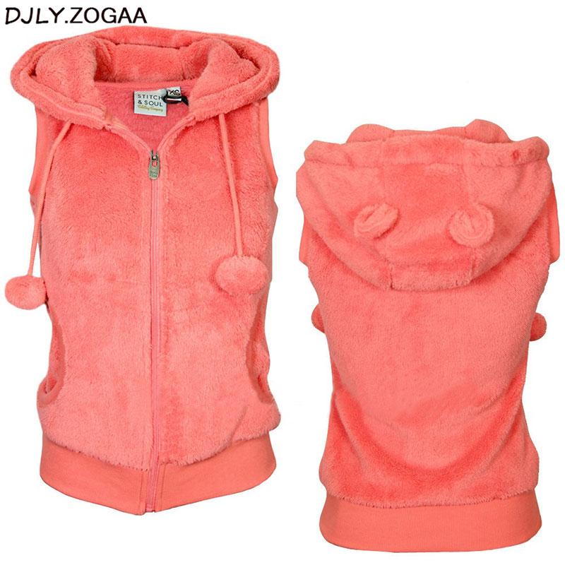 Women Winter Warm Vests Coat Soft Fleece Hooded Outwear Female Fashion Casual Thicken Vest Jacket Solid Women Fur Vest Coat 1