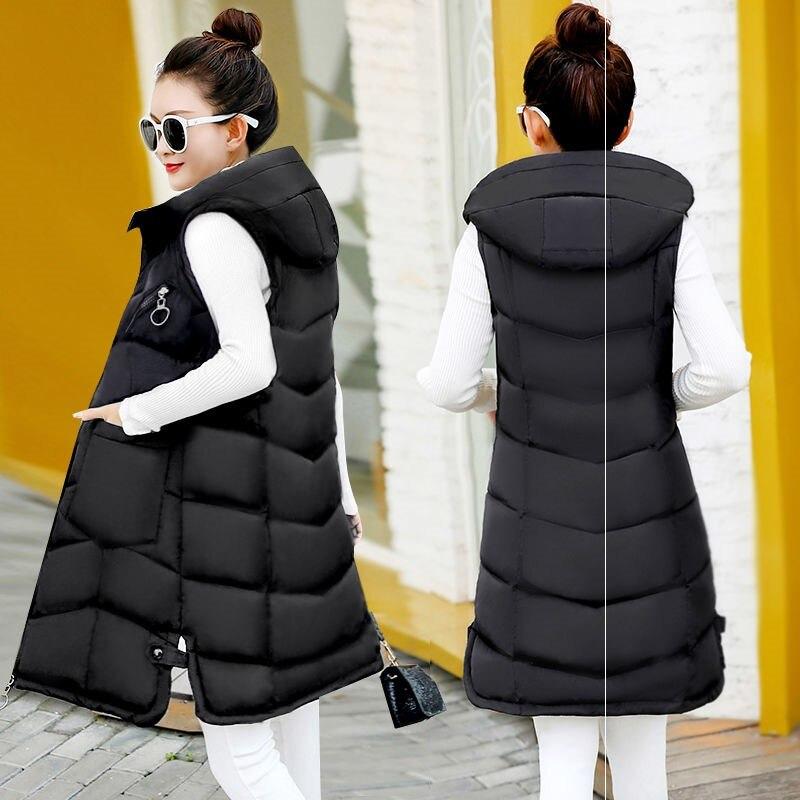 Brieuces Autumn winter vest women 2020 cotton-padded warm thicken long woman vest female hooded parka jacket waistcoat plus size 3