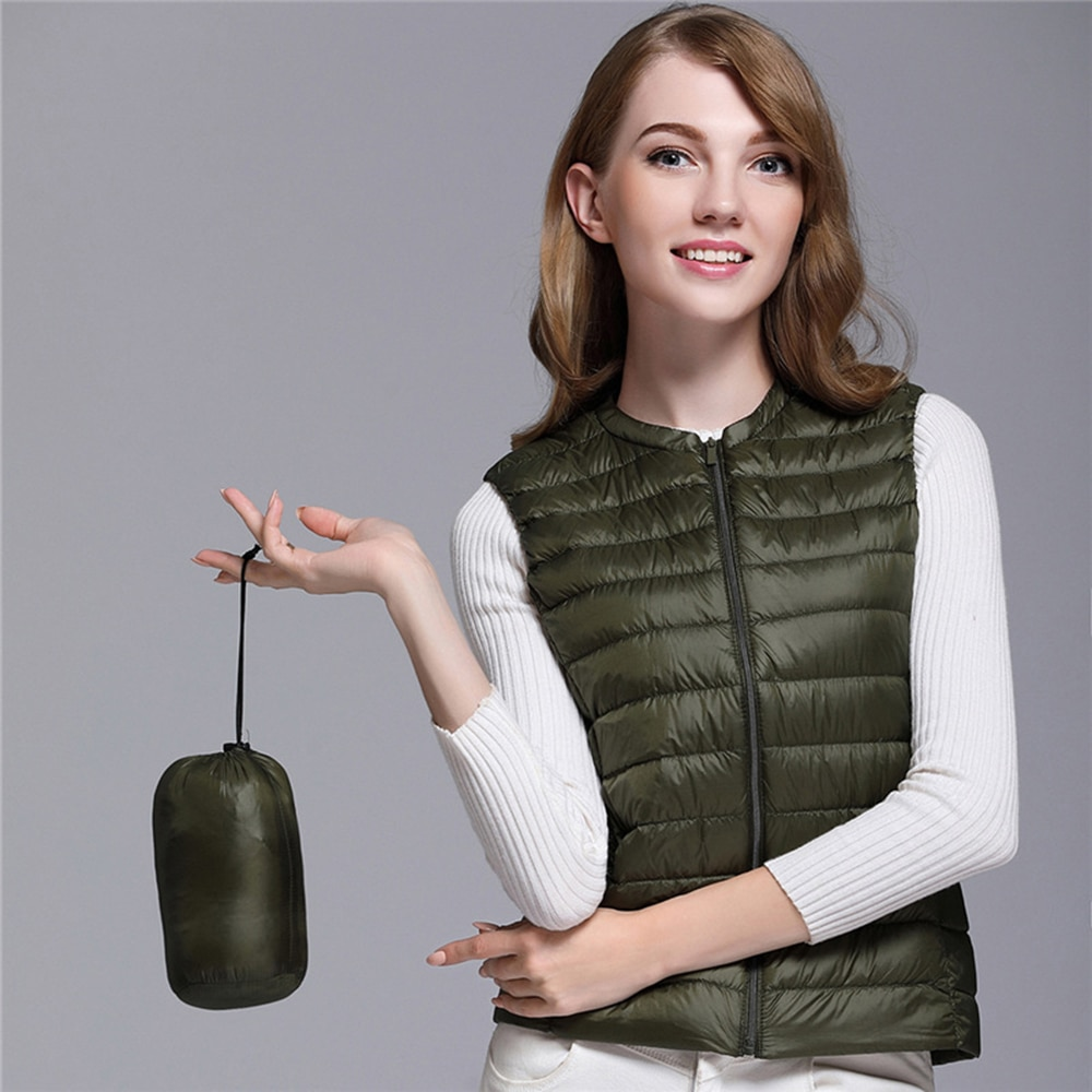 Women's Ultra Light Duck Down Vest Jacket Women White Duck Down Vest 2019 Autumn Winter Round Collar Sleeveless Coat for Women 2