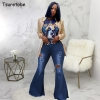 Ripped Jeans Fashion High Waist Wide Leg Pants Casual Bell-Bottoms Jeans Trousers Tsuretobe Autumn Plus Size Flare Pants Women Ripped Jeans Fashion High Waist Wide Leg Pants Casual Bell-Bottoms Jeans Trousers