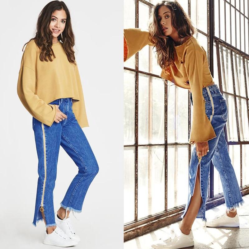 High Waist Denim Long Jeans Women Flare Pants Unique Double Side Zipper Split Bell Bottom Teenage Girl Chic Streetwear Plus Size 1