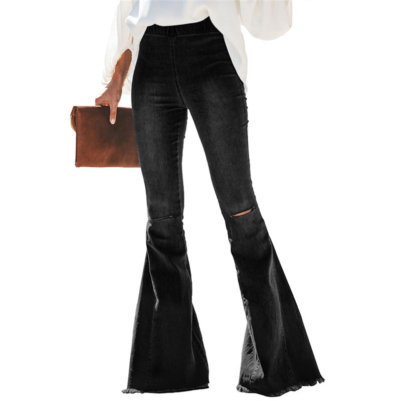 2020 New High Waist Flare Jeans Black Bell Bottom Ripped Female Jeans For Women Denim Skinny Jeans Mom Wide Leg Plus Size Pants 2