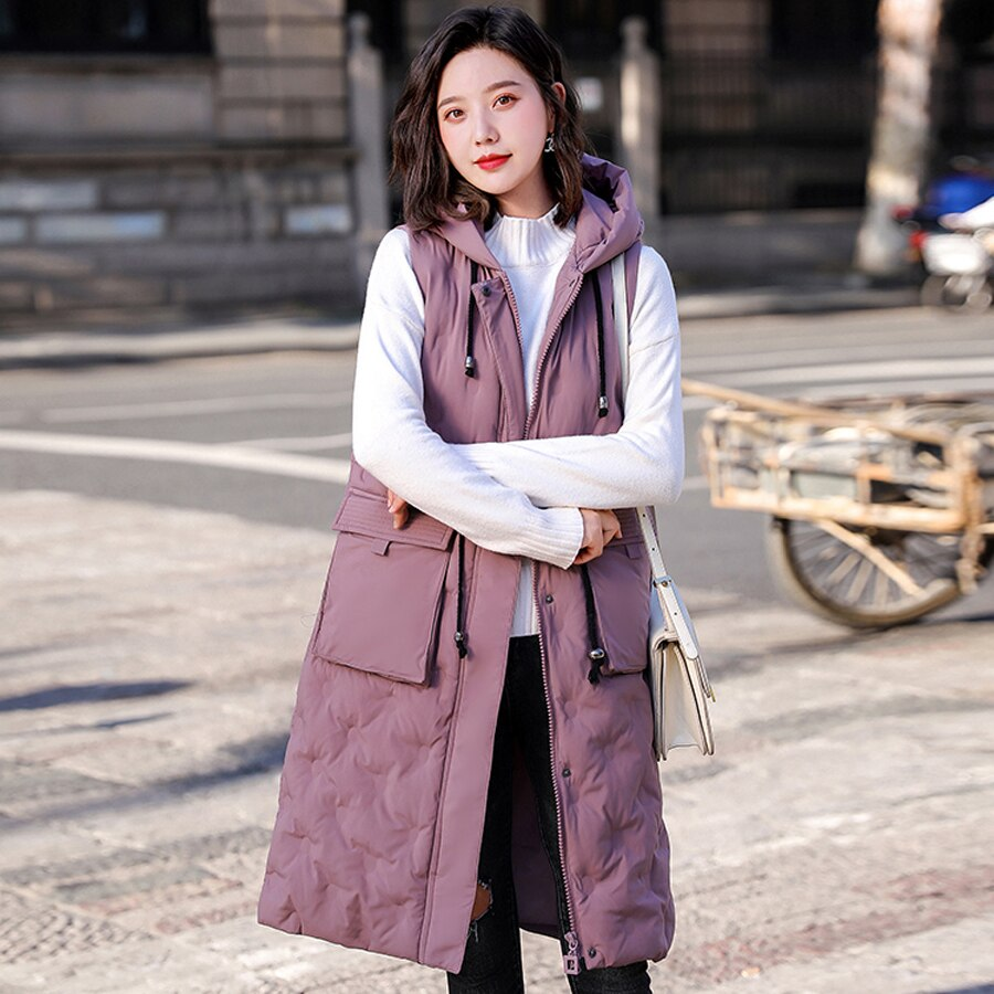 Autumn winter vest women 2019 cotton-padded warm thicken long woman vest female hooded parka jacket waistcoat plus size 3