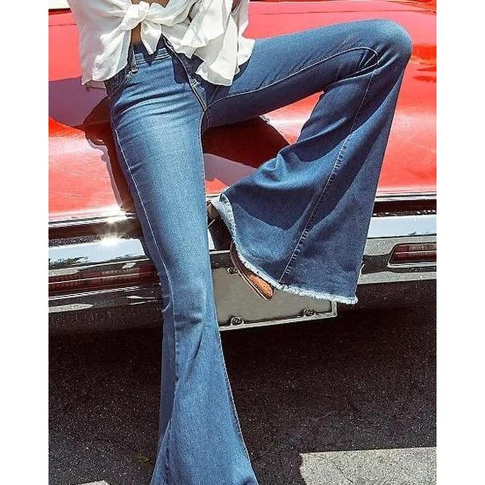 2019 New Fashion Women Flare Jeans Stretch High Waist Lifting Buttocks Wide Leg Denim Sexy Pants Spring Autumn 2