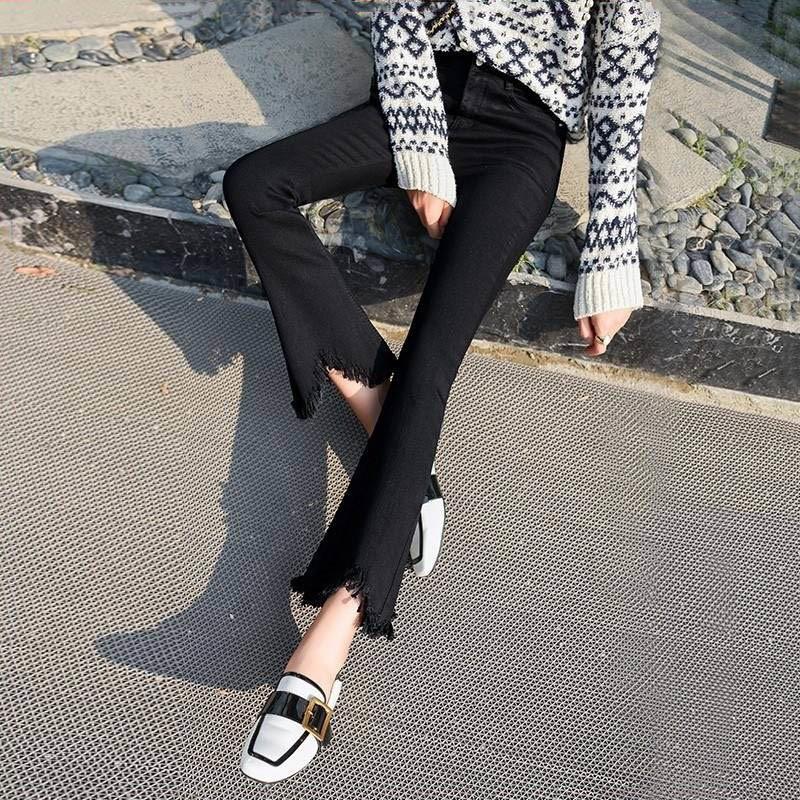 High Waist black flare Tassel Jeans Woman Thin Fringed Edges Ankle trousers Horn high waist skinny bell bottom Denim Pant Female 2