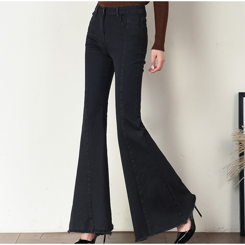 Plus Size Big Bell-Bottom Stretch Black Denim Long Jeans For Women 5Xl 7Xl Autumn Winter Wide Leg Tassel Skinny Flare Pants 2