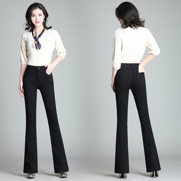 Flare Pants Jeans Women 2019 Spring Slim Wide Leg Ladies Denim Trousers Elastic High Waist Pantalon Jean Femme Woman Jeans