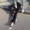 High Waist black flare Tassel Jeans Woman Thin Fringed Edges Ankle trousers Horn high waist skinny bell bottom Denim Pant Female
