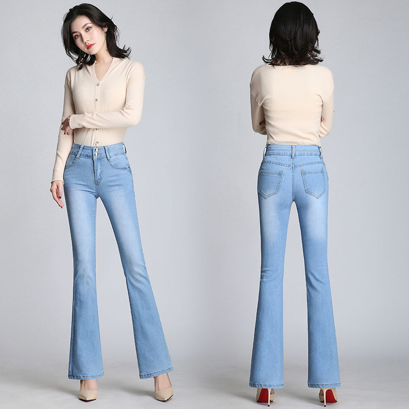 2019 Women Vintage Jeans For Women Flare Jeans Stretch High Waist Button Casual Spring Stretchy Denim Pants 3