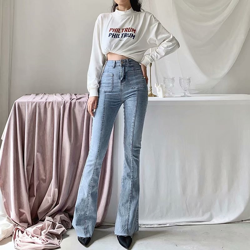 Autumn and winter new European and American style high waist stretch horn jeans women, Slim long legs solid color jeans women 1