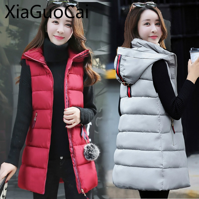 Womens Vests 2019 Autumn/Winter Newest Cotton Vests Women's Long Coats Casual Large Size Vest Cotton Pad Clothes