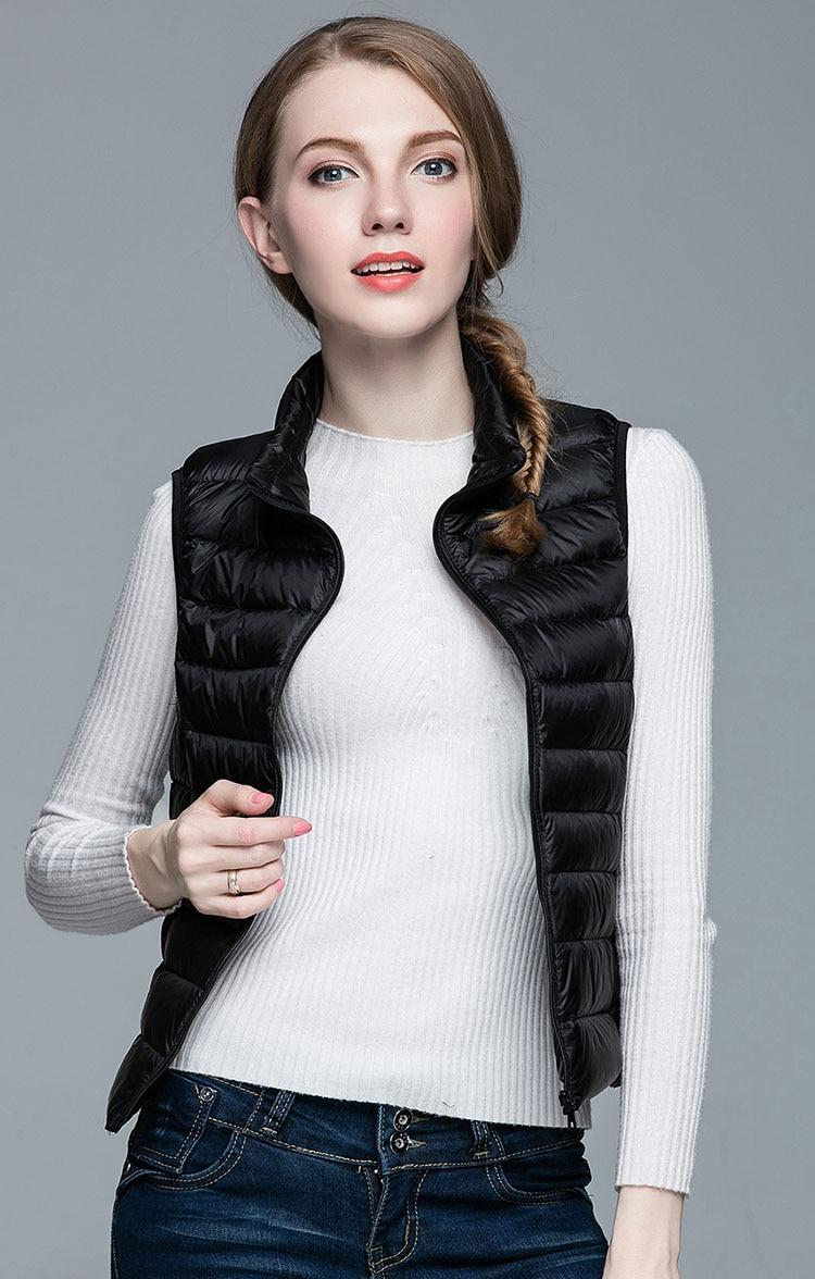 HOT!Winter Women 90% White Duck Down Vest Women's Ultra Light Duck Down Vest Jacket Autumn Winter Sleeveless Coat 3