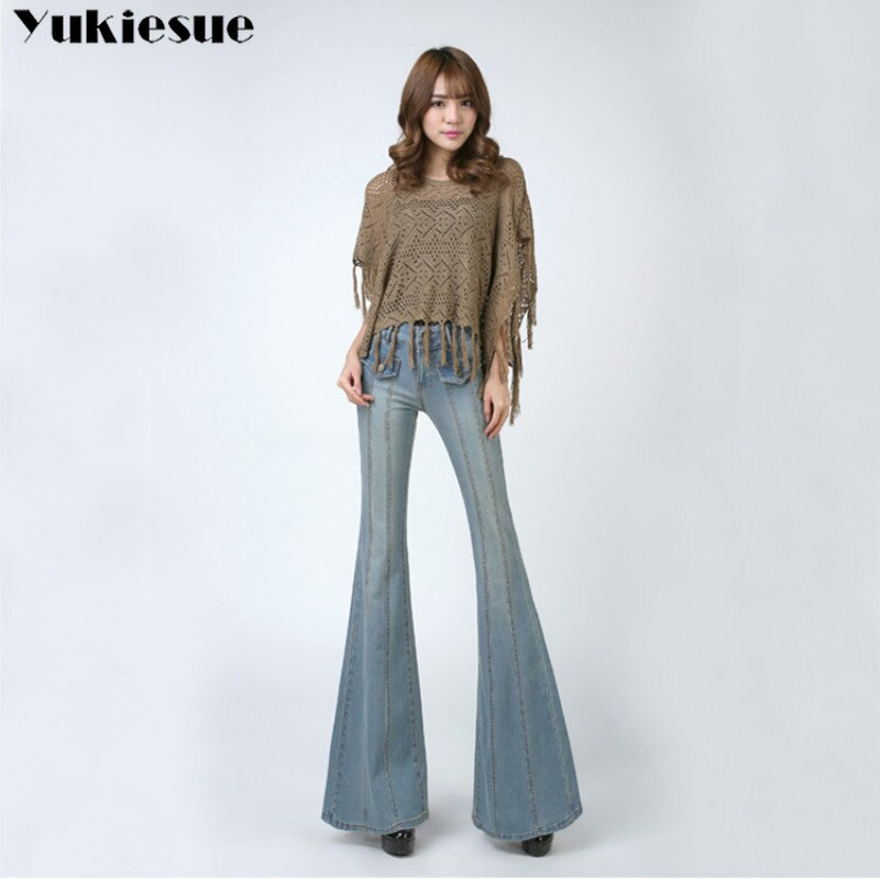 woman's Flared Jeans with High Waist for women Elegant Retro Style Bell Bottom Skinny Denim Pants Female Sexy Wide Leg Jeans 2