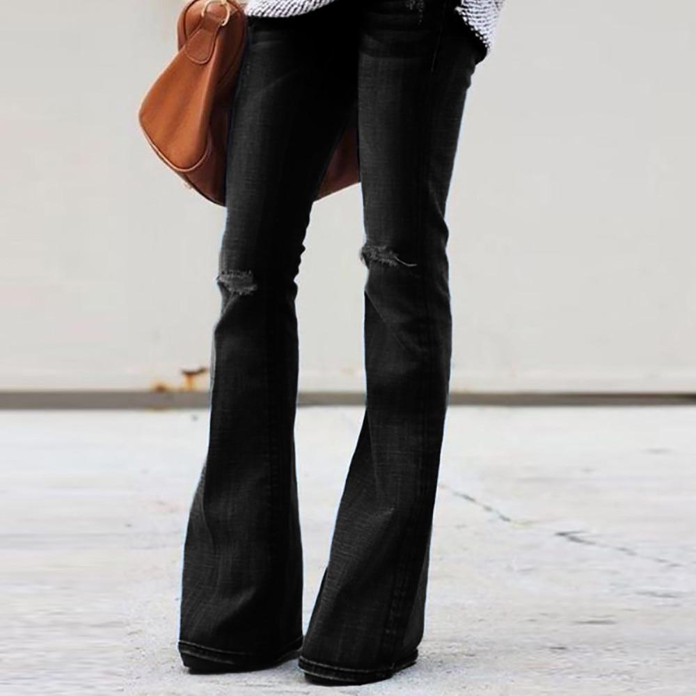 Fashion Women Jeans Denim Hole Female Mid Waist Stretch Slim Flare Jeans cargo pants Hole Denim Casual #4 3