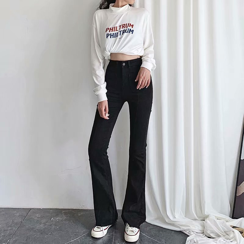 Autumn and winter new European and American style high waist stretch horn jeans women, Slim long legs solid color jeans women 2