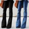 Women Jeans Denim Hole Female Mid Waist Stretch Slim Flare Jeans Fashion Women Jeans Denim Hole Female Mid Waist Stretch Slim Flare Jeans cargo pants Hole Denim Casual #4