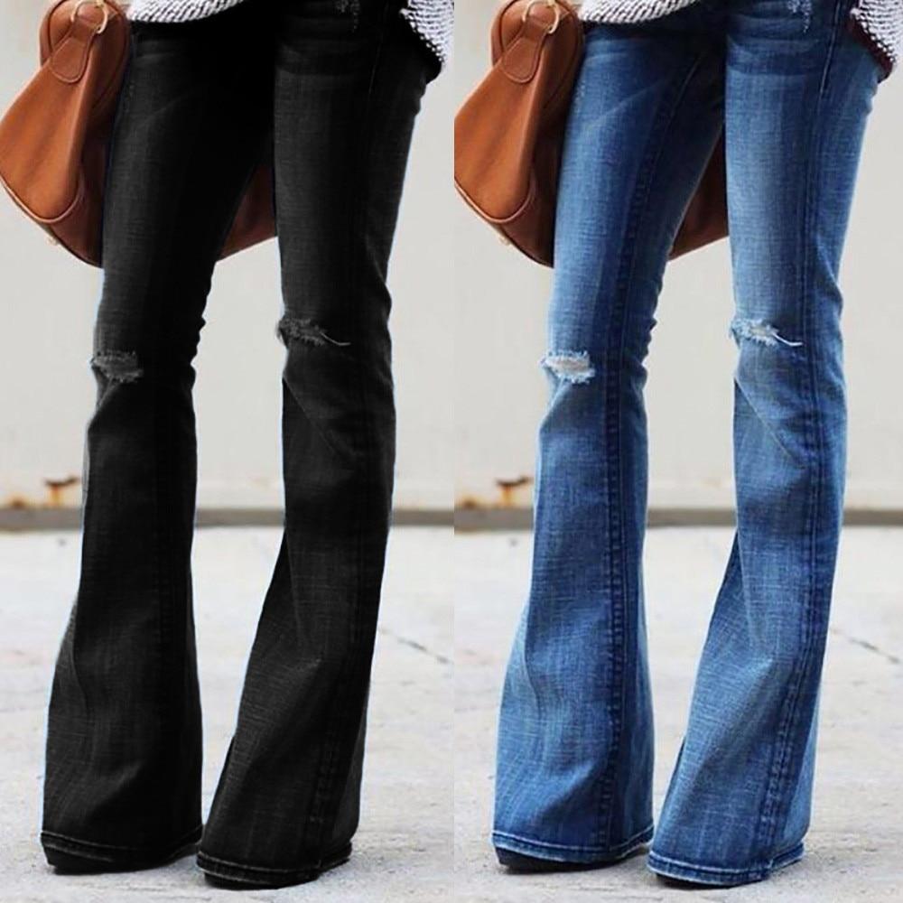 Fashion Women Jeans Denim Hole Female Mid Waist Stretch Slim Flare Jeans cargo pants Hole Denim Casual #4 1
