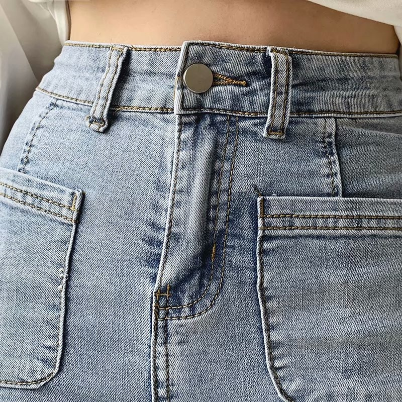 Autumn and winter new European and American style high waist stretch horn jeans women, Slim long legs solid color jeans women 3