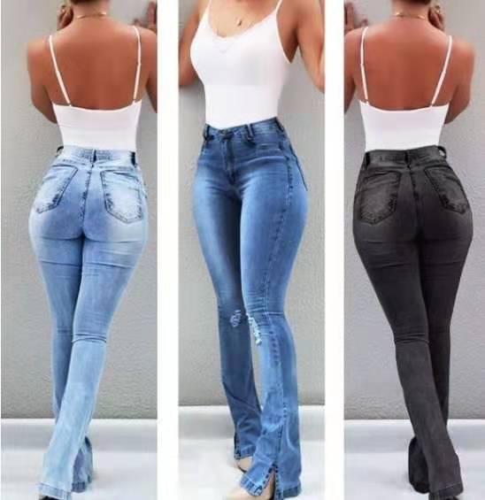 Sexy Slim Waist Skinny Flare Pants Jeans Tight Lady Mid Waist Lady Jeans Women Wide Leg Jeans Plus Size XXXL 2