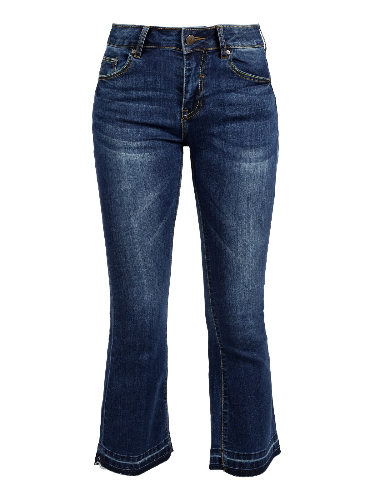Woman flare jeans vertical straight three quarter flare trousers 2