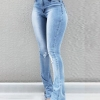 Women Flare Jeans Autumn Winter Blue Stretchy Skinny High Waist Wide Leg Long Denim Trousers Plus Size