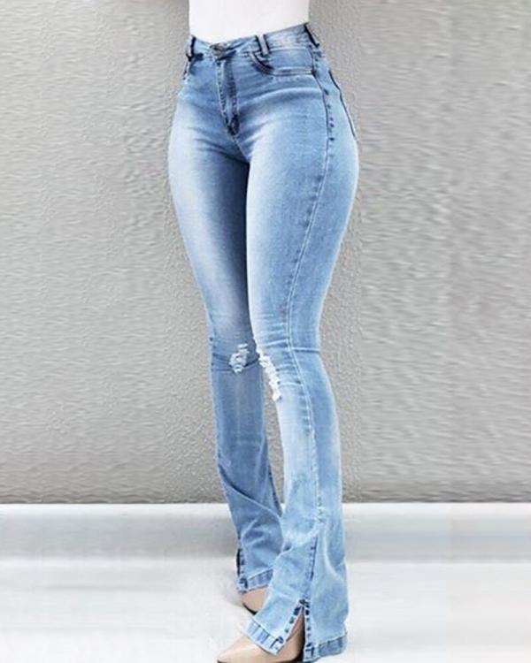 Women Flare Jeans Autumn Winter Blue Stretchy Skinny High Waist Wide Leg Long Denim Trousers Plus Size