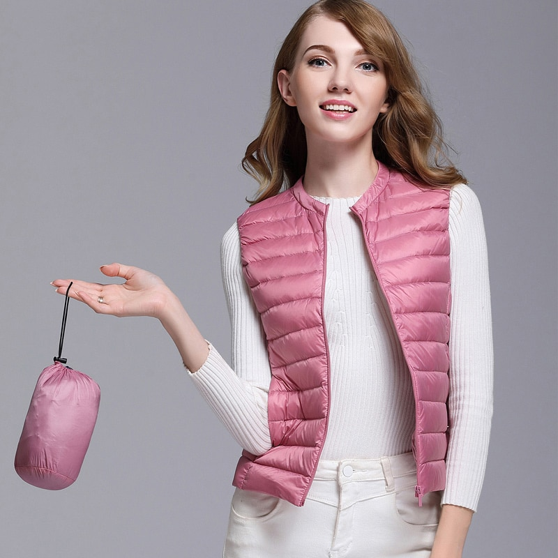 Autumn White Duck Down Women's Short Vest Jacket Sleeveless Portable Office Lady Women Vests Coat 2019 Winter Waistcoat Female 2