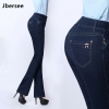 Jbersee Autumn Winter Women Flare Jeans High Waist Skinny Jeans Woman Denim Pants Plus Size Stretch Embroidered Womens Jeans