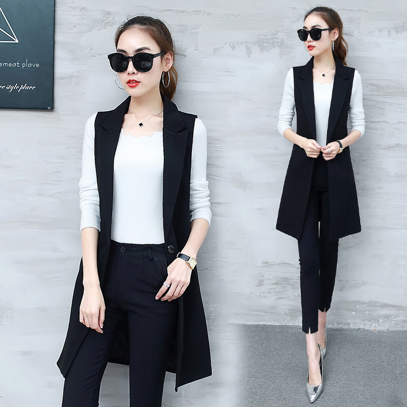VANGULL Elegant Suit Vest Women Spring Autumn Sleeveless Long Vest Jacket Colete Plus Size 3XL Blazer Vest Coat Women Waistcoat 2
