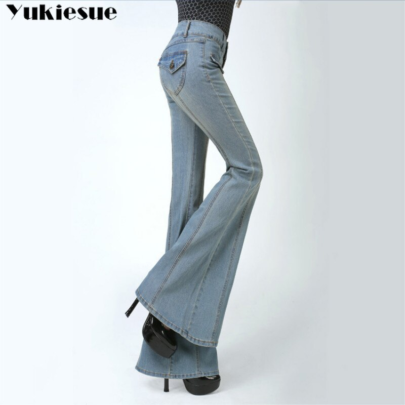 woman's Flared Jeans with High Waist for women Elegant Retro Style Bell Bottom Skinny Denim Pants Female Sexy Wide Leg Jeans 1