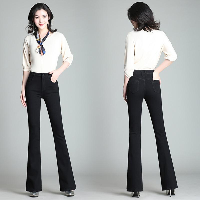 Flare Pants Jeans Women 2019 Spring Slim Wide Leg Ladies Denim Trousers Elastic High Waist Pantalon Jean Femme Woman Jeans 2