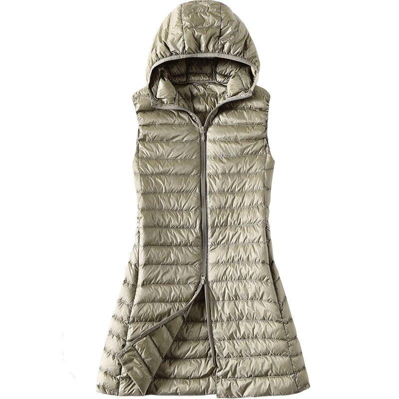 Women's Vest Duck Down Jacket Woman Hooded Spring Autumn Ultra Light Sleeveless Coat Plus Size Chalecos Para Mujer J3831