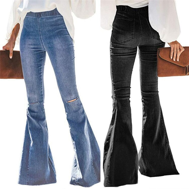 2020 New High Waist Flare Jeans Black Bell Bottom Ripped Female Jeans For Women Denim Skinny Jeans Mom Wide Leg Plus Size Pants 1