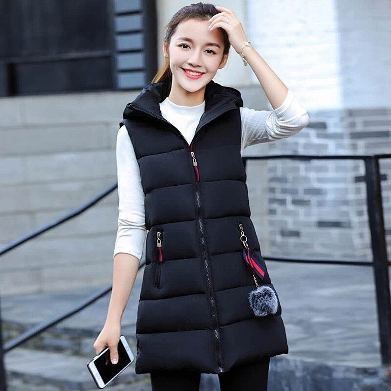 Womens Vests 2019 Autumn/Winter Newest Cotton Vests Women's Long Coats Casual Large Size Vest Cotton Pad Clothes 2