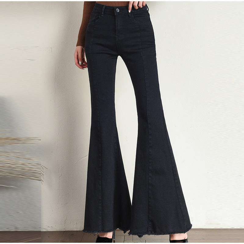 Plus Size Big Bell-Bottom Stretch Black Denim Long Jeans For Women 5Xl 7Xl Autumn Winter Wide Leg Tassel Skinny Flare Pants 3
