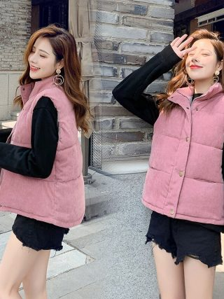 New Fashion Women Vest Coat Autumn Winter Warm Thick Short Waistcoat Female Parkas Cotton Sleeveless Corduroy Jacket Vest